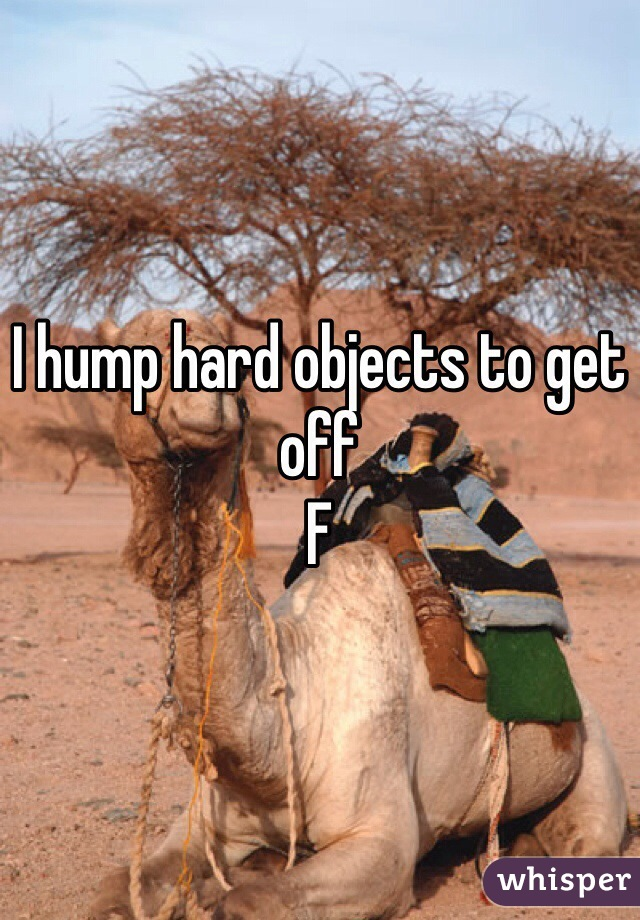 I hump hard objects to get off  F