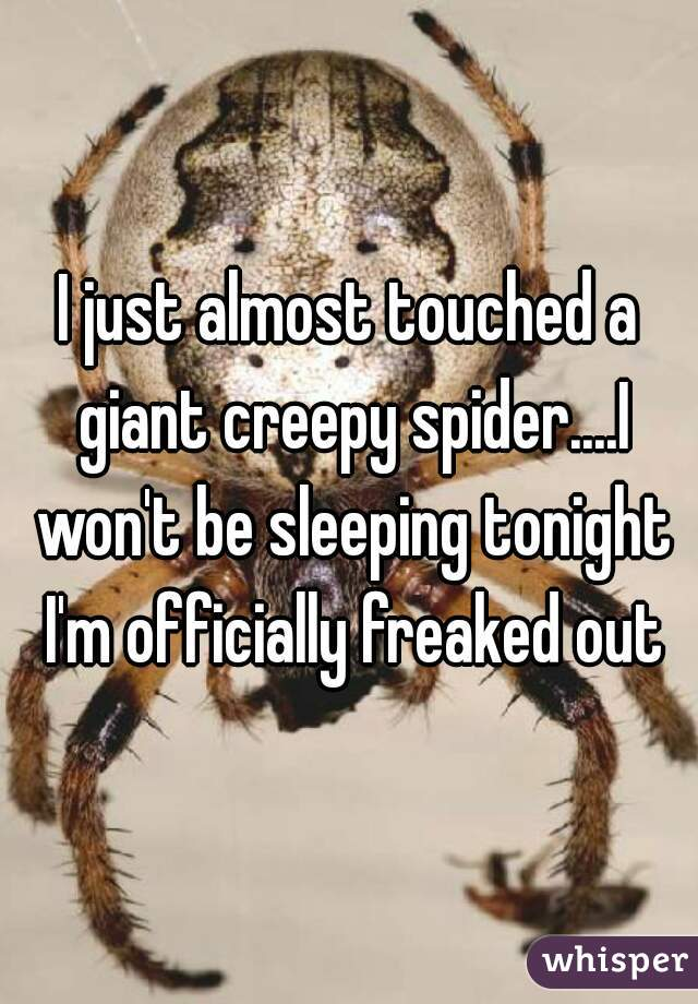 I just almost touched a giant creepy spider....I won't be sleeping tonight I'm officially freaked out
