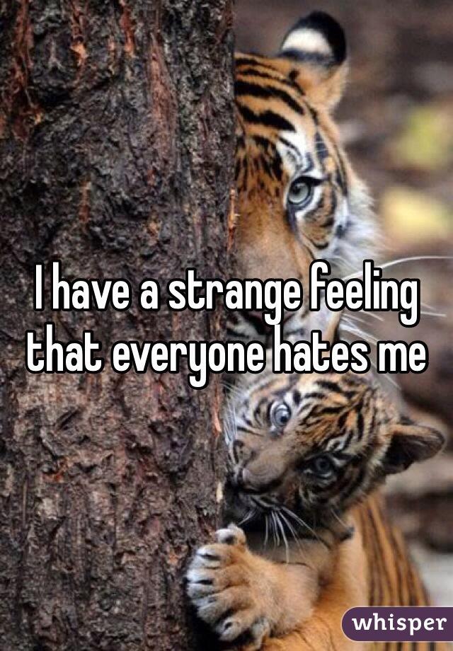 I have a strange feeling that everyone hates me