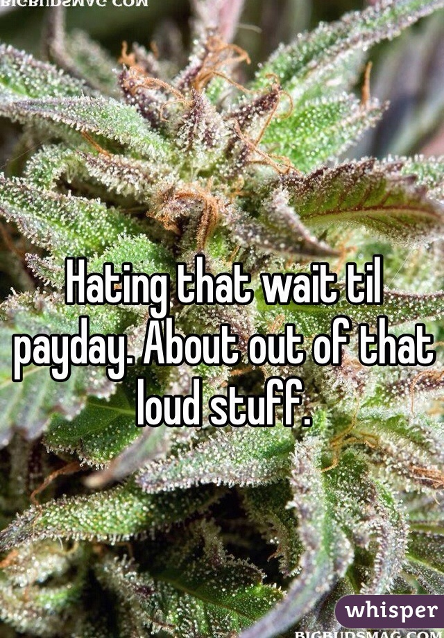 Hating that wait til payday. About out of that loud stuff.