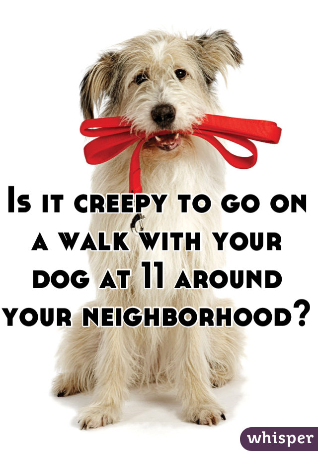 Is it creepy to go on a walk with your dog at 11 around your neighborhood?