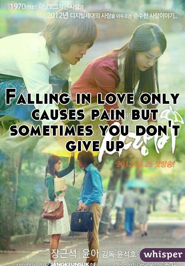 Falling in love only causes pain but sometimes you don't give up