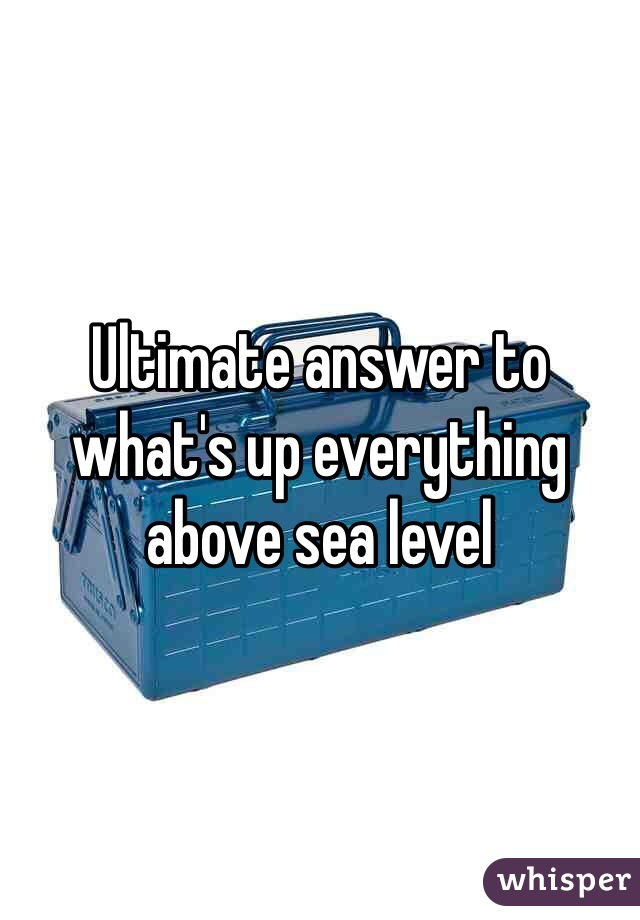 Ultimate answer to what's up everything above sea level