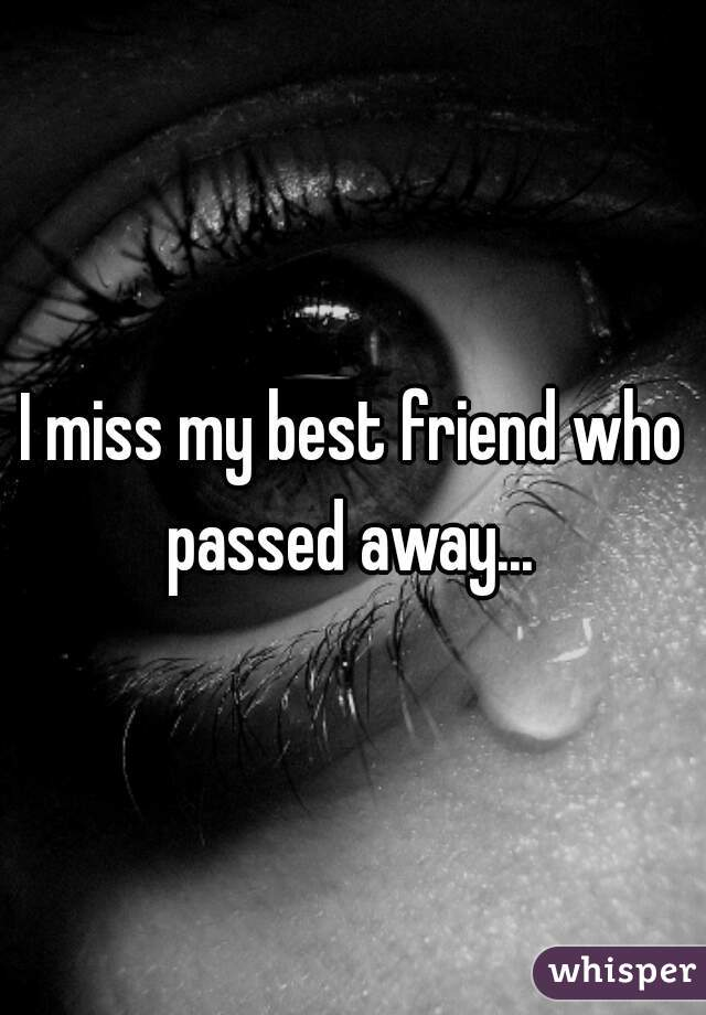 I miss my best friend who passed away...