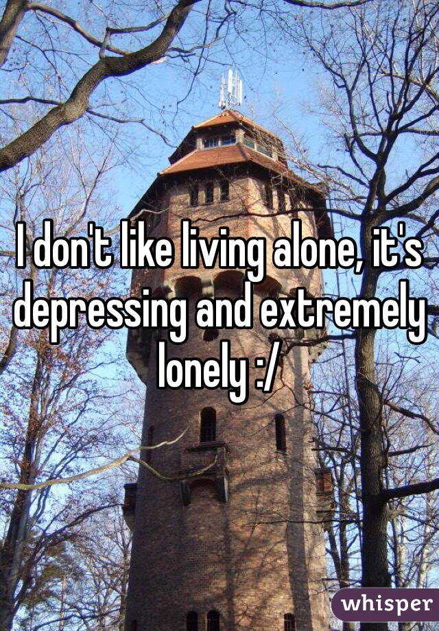 I don't like living alone, it's depressing and extremely lonely :/