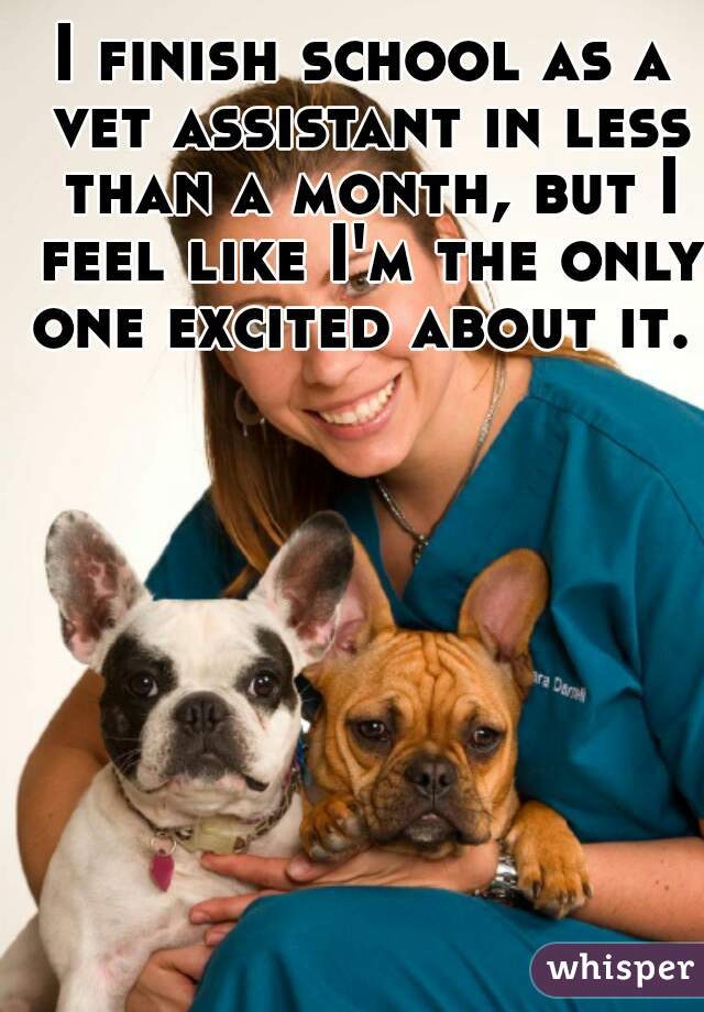 I finish school as a vet assistant in less than a month, but I feel like I'm the only one excited about it.