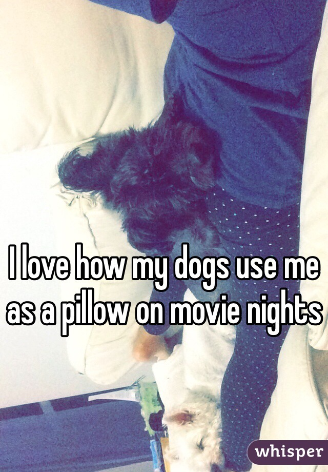 I love how my dogs use me as a pillow on movie nights