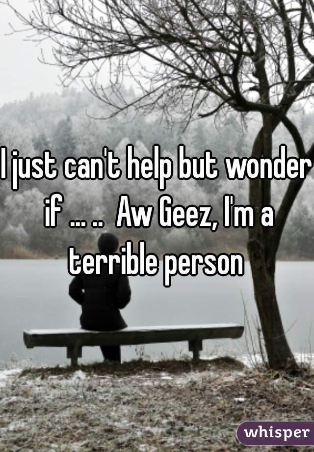 I just can't help but wonder if ... ..  Aw Geez, I'm a terrible person