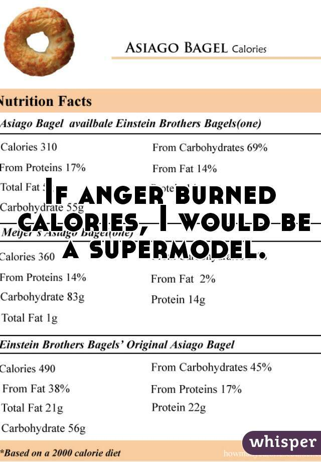 If anger burned calories, I would be a supermodel.