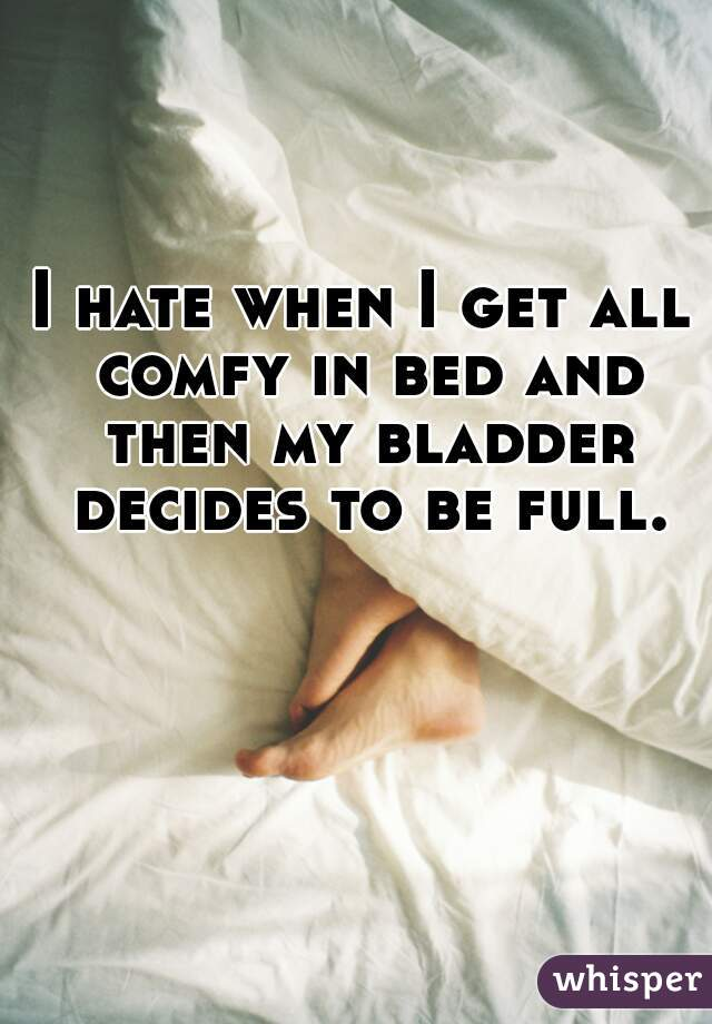I hate when I get all comfy in bed and then my bladder decides to be full.