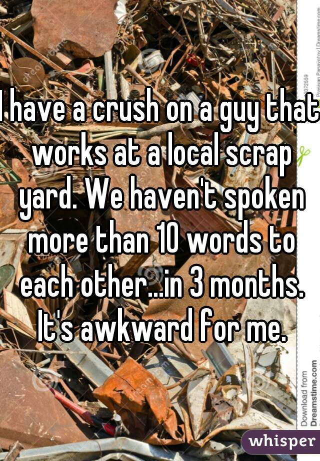 I have a crush on a guy that works at a local scrap yard. We haven't spoken more than 10 words to each other...in 3 months. It's awkward for me.
