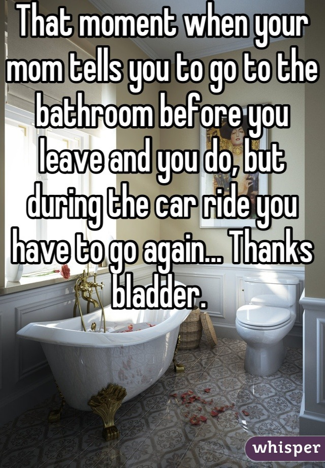 That moment when your mom tells you to go to the bathroom before you leave and you do, but during the car ride you have to go again... Thanks bladder.