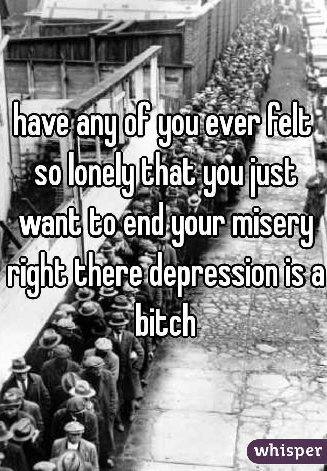 have any of you ever felt so lonely that you just want to end your misery right there depression is a bitch