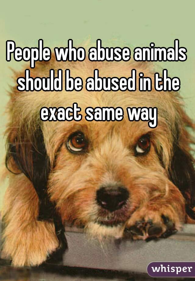 People who abuse animals should be abused in the exact same way