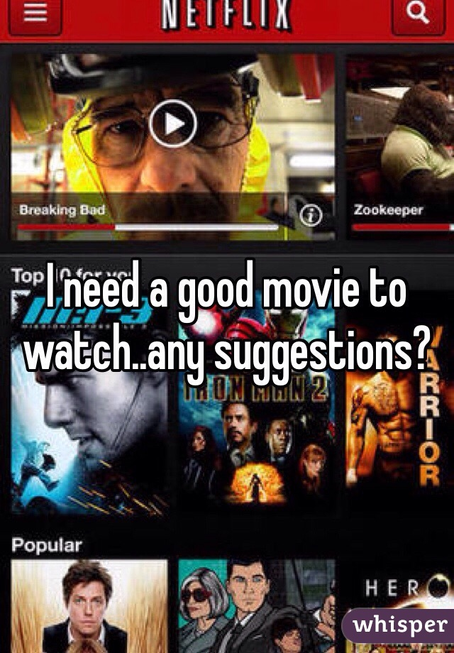 I need a good movie to watch..any suggestions?