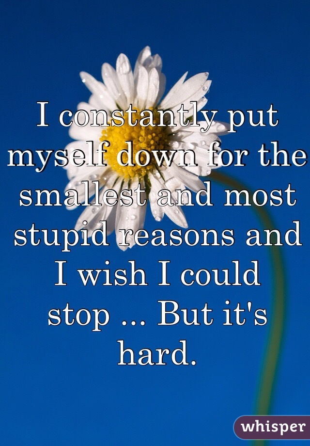 I constantly put myself down for the smallest and most stupid reasons and I wish I could stop ... But it's hard.
