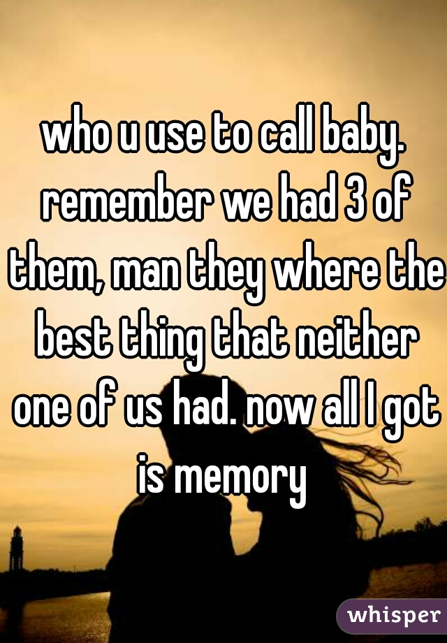 who u use to call baby. remember we had 3 of them, man they where the best thing that neither one of us had. now all I got is memory