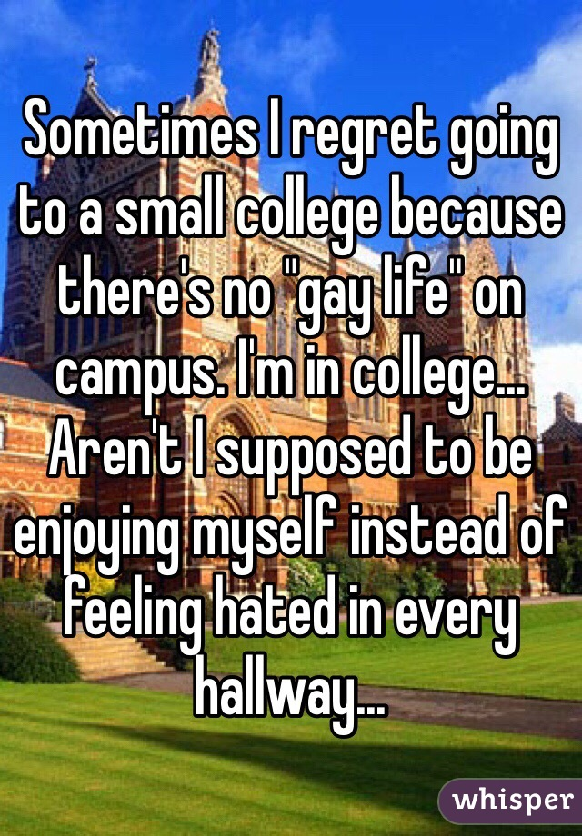 """Sometimes I regret going to a small college because there's no """"gay life"""" on campus. I'm in college... Aren't I supposed to be enjoying myself instead of feeling hated in every hallway..."""