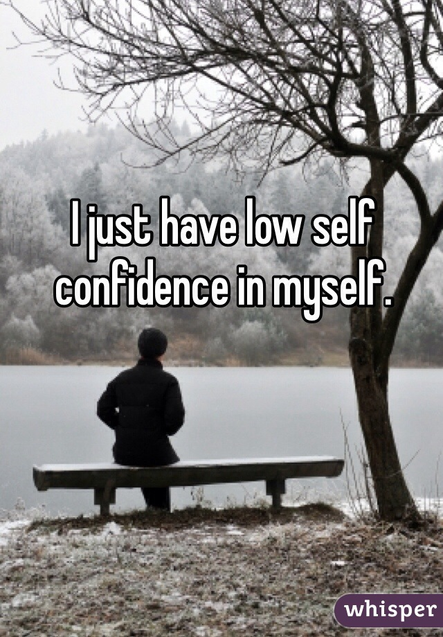 I just have low self confidence in myself.