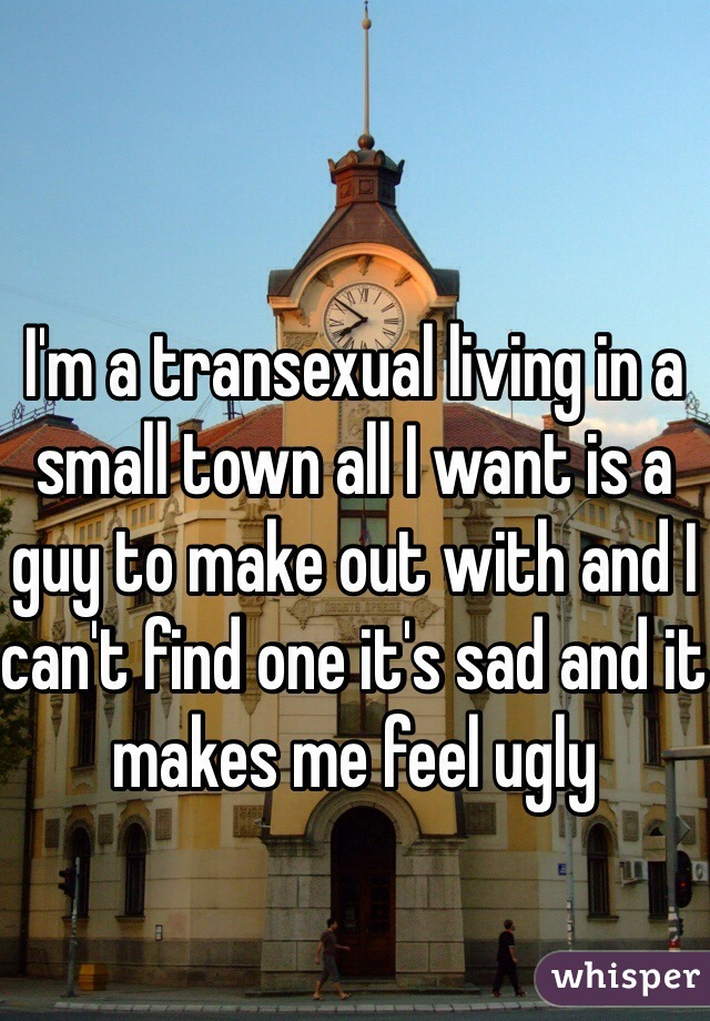 I'm a transexual living in a small town all I want is a guy to make out with and I can't find one it's sad and it makes me feel ugly