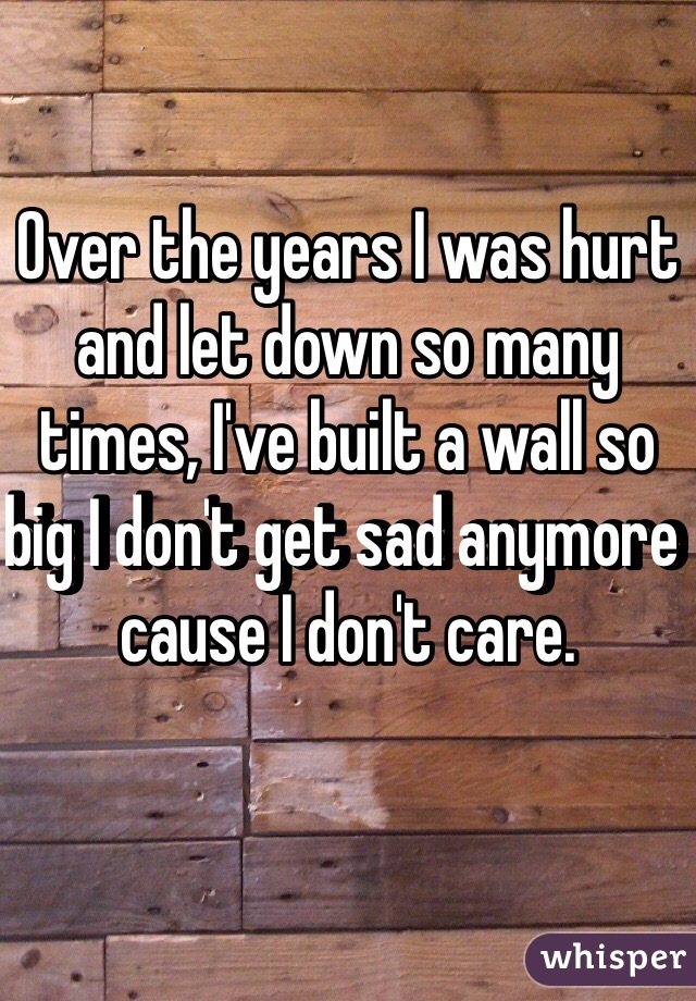 Over the years I was hurt and let down so many times, I've built a wall so big I don't get sad anymore cause I don't care.
