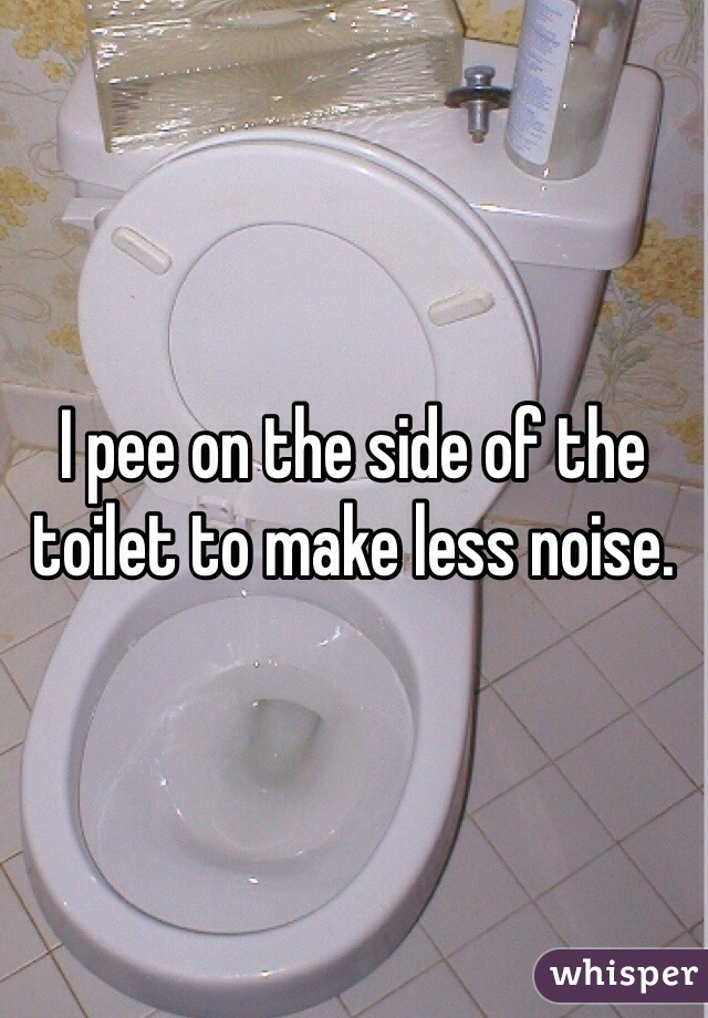 I pee on the side of the toilet to make less noise.