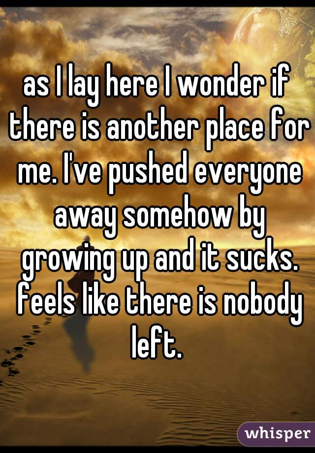 as I lay here I wonder if there is another place for me. I've pushed everyone away somehow by growing up and it sucks. feels like there is nobody left.
