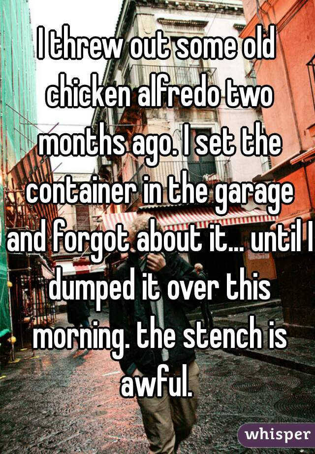 I threw out some old chicken alfredo two months ago. I set the container in the garage and forgot about it... until I dumped it over this morning. the stench is awful.