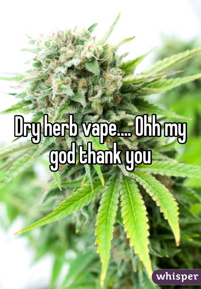 Dry herb vape.... Ohh my god thank you