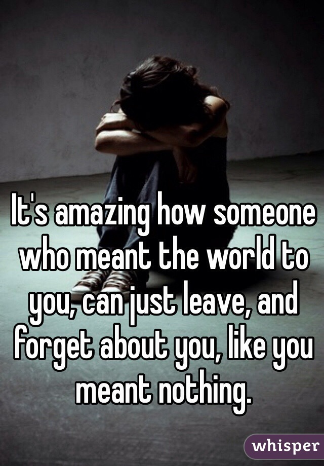 It's amazing how someone who meant the world to you, can just leave, and forget about you, like you meant nothing.