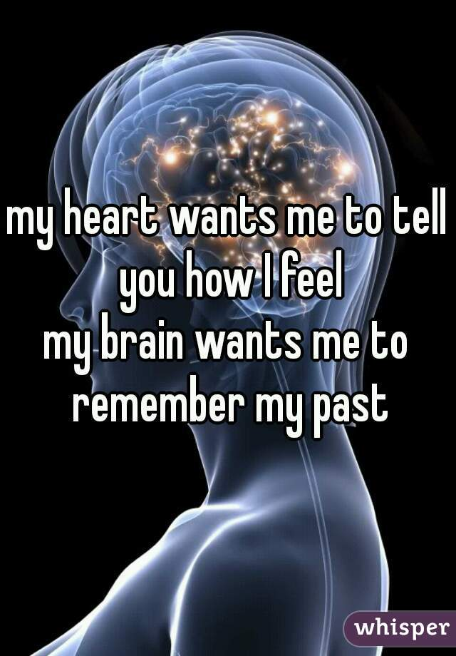 my heart wants me to tell you how I feel  my brain wants me to remember my past