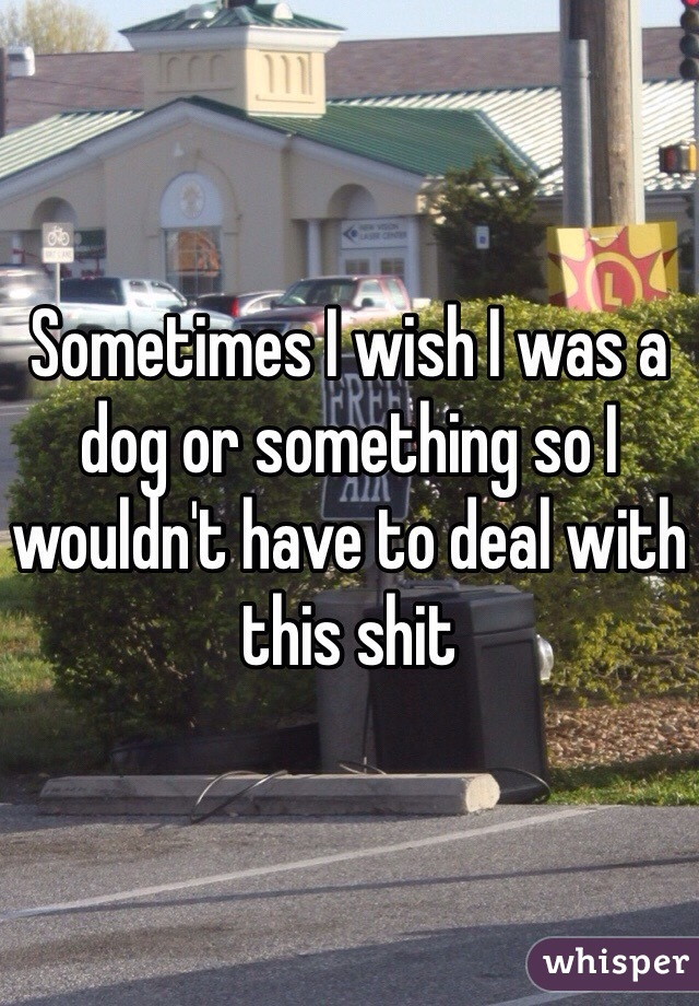 Sometimes I wish I was a dog or something so I wouldn't have to deal with this shit