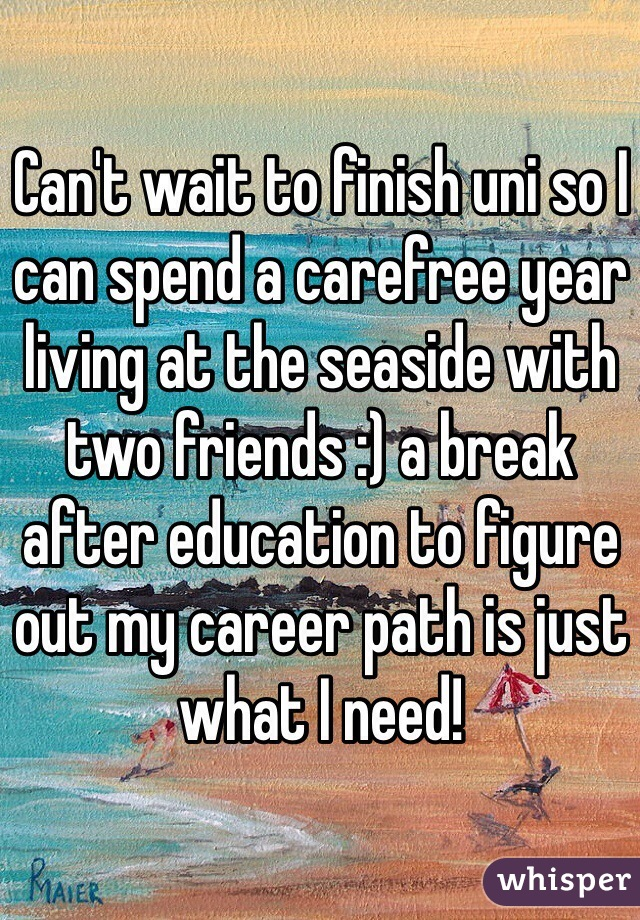 Can't wait to finish uni so I can spend a carefree year living at the seaside with two friends :) a break after education to figure out my career path is just what I need!
