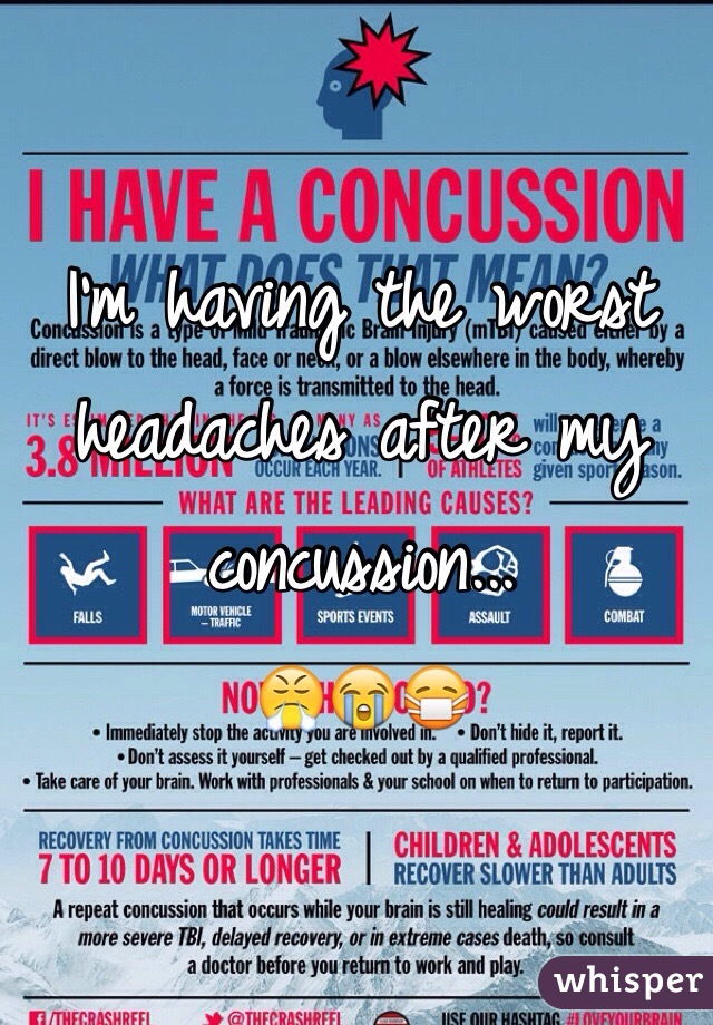 I'm having the worst headaches after my concussion...  😤😭😷