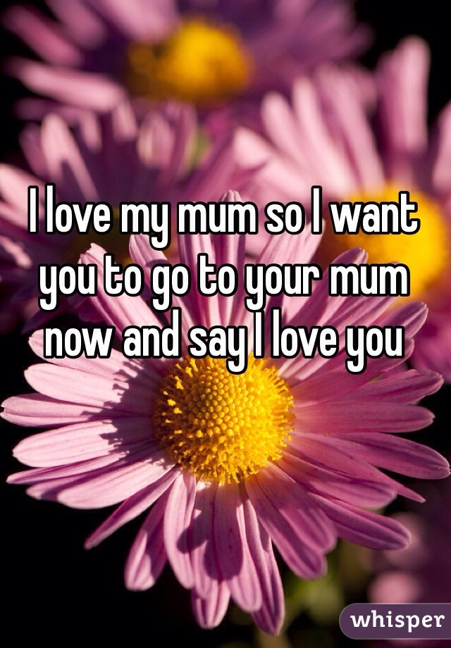 I love my mum so I want you to go to your mum now and say I love you