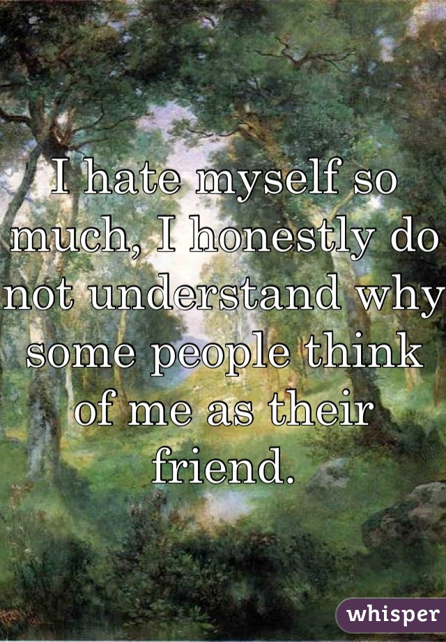 I hate myself so much, I honestly do not understand why some people think of me as their friend.