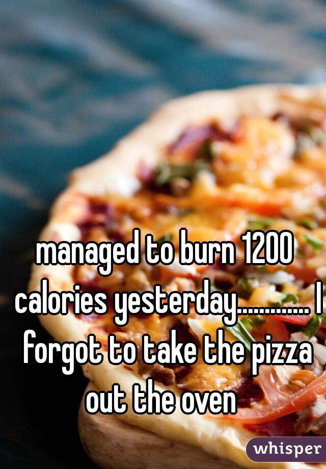 managed to burn 1200 calories yesterday............. I forgot to take the pizza out the oven