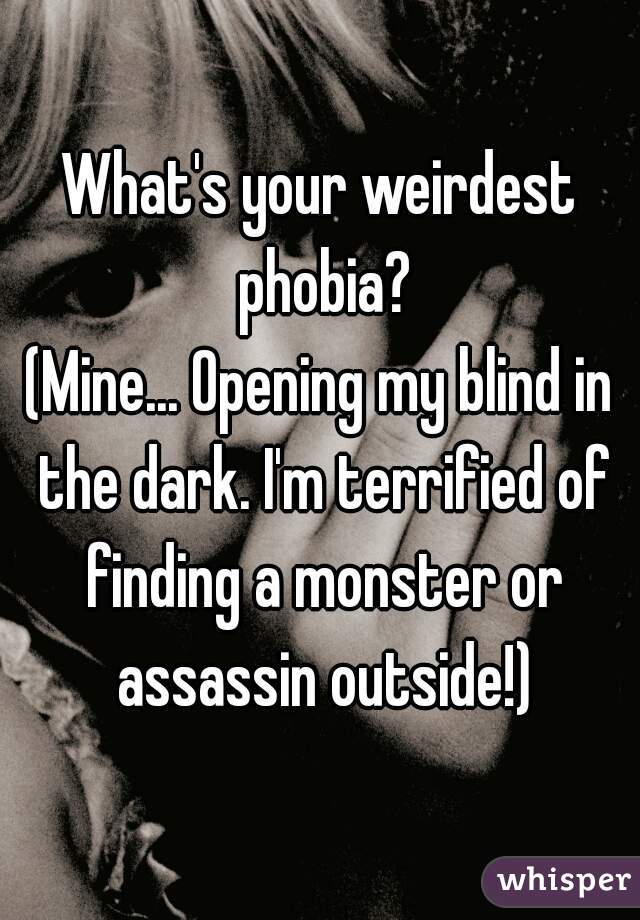 What's your weirdest phobia?  (Mine... Opening my blind in the dark. I'm terrified of finding a monster or assassin outside!)