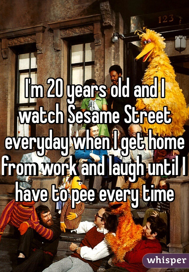 I'm 20 years old and I watch Sesame Street everyday when I get home from work and laugh until I have to pee every time