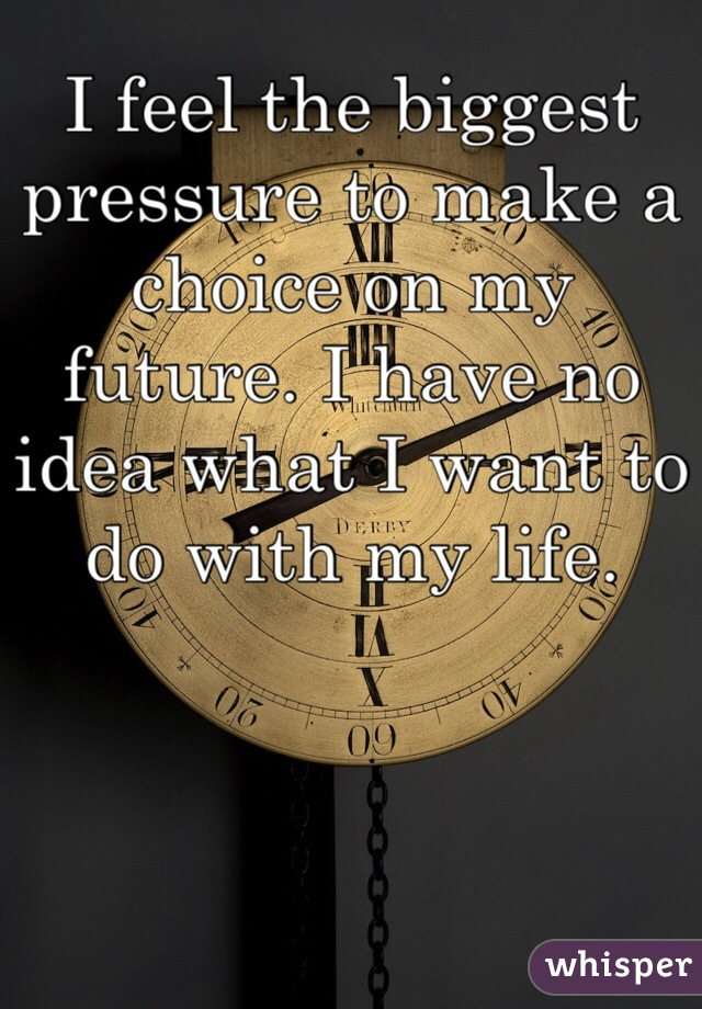 I feel the biggest pressure to make a choice on my future. I have no idea what I want to do with my life.