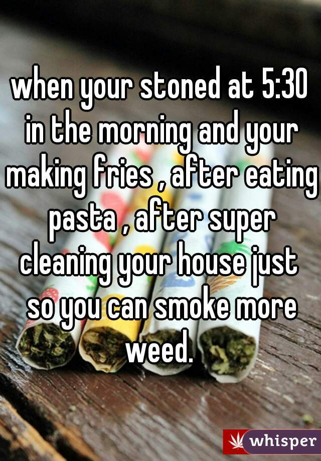 when your stoned at 5:30 in the morning and your making fries , after eating pasta , after super cleaning your house just  so you can smoke more weed.