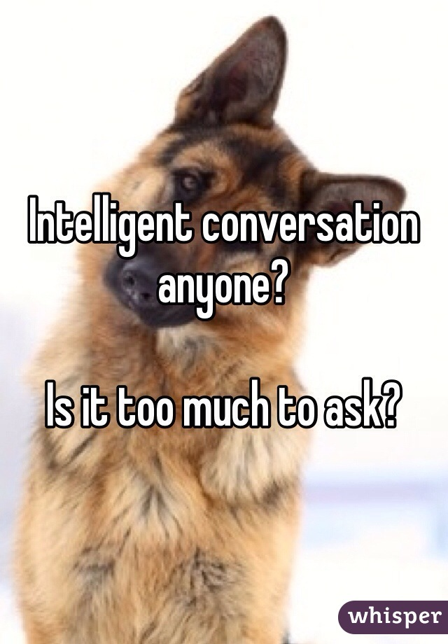 Intelligent conversation anyone?  Is it too much to ask?