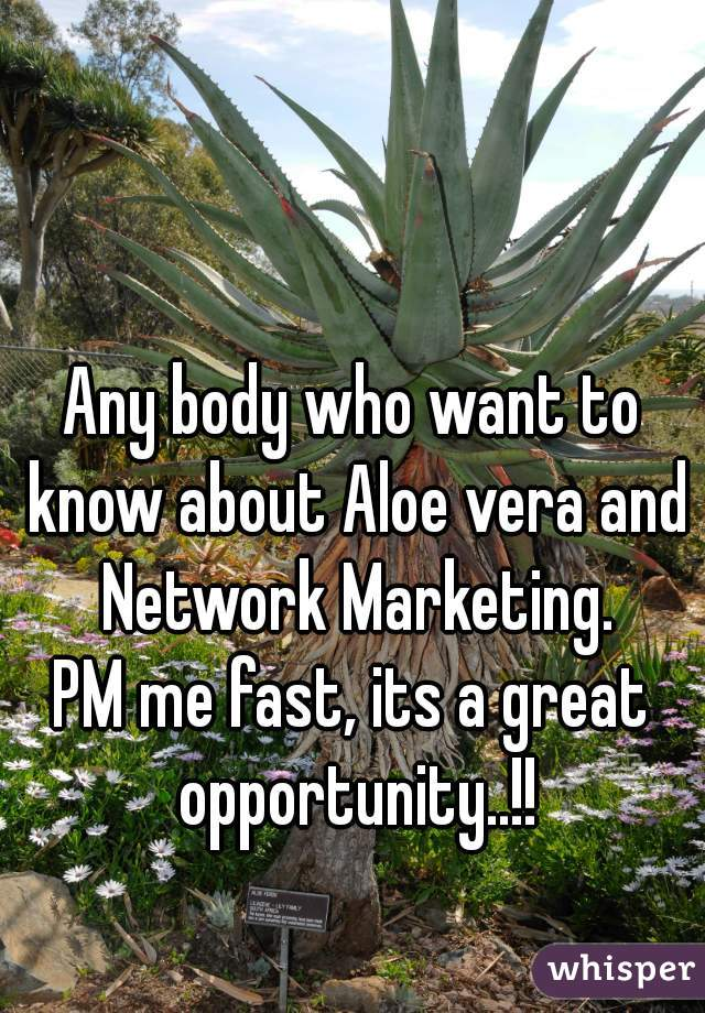 Any body who want to know about Aloe vera and Network Marketing. PM me fast, its a great opportunity..!!