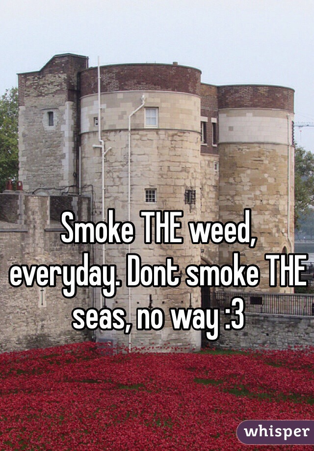 Smoke THE weed, everyday. Dont smoke THE seas, no way :3