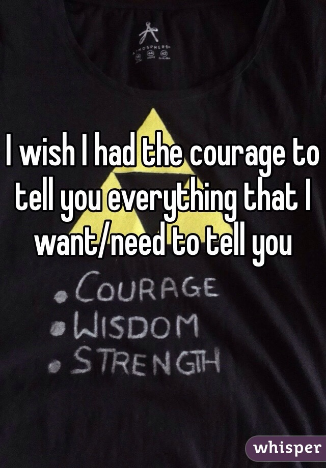 I wish I had the courage to tell you everything that I want/need to tell you