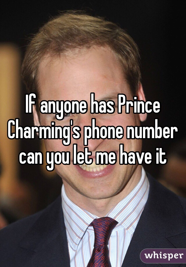 If anyone has Prince Charming's phone number can you let me have it
