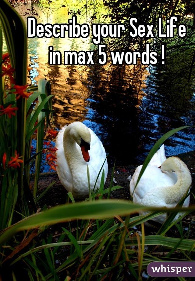 Describe your Sex Life in max 5 words !