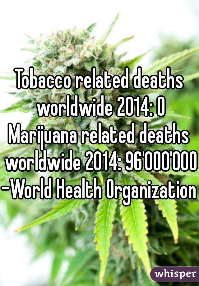 Tobacco related deaths worldwide 2014: 0  Marijuana related deaths worldwide 2014: 96'000'000  -World Health Organization
