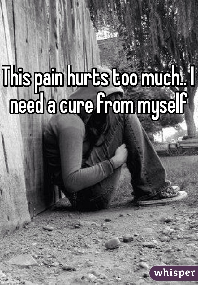 This pain hurts too much.. I need a cure from myself