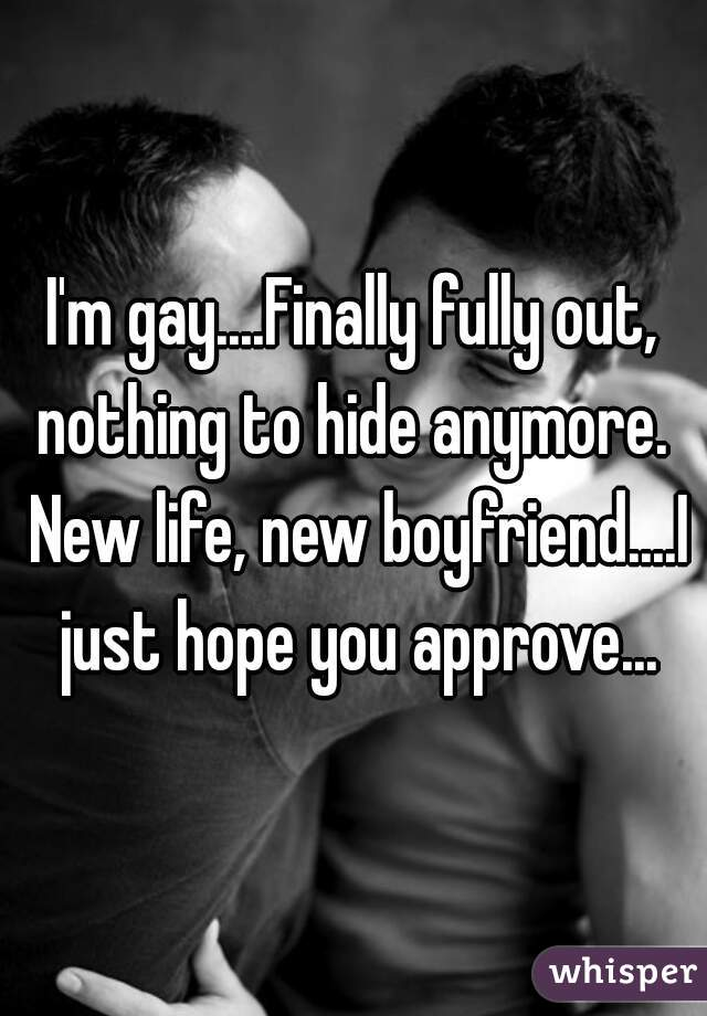 I'm gay....Finally fully out, nothing to hide anymore.  New life, new boyfriend....I just hope you approve...
